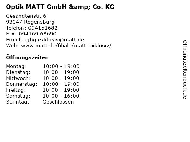 Optik MATT GmbH & Co. KG in Regensburg: Adresse und Öffnungszeiten