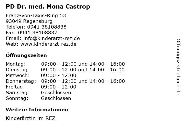 PD Dr. med. Mona Castrop in Regensburg: Adresse und Öffnungszeiten