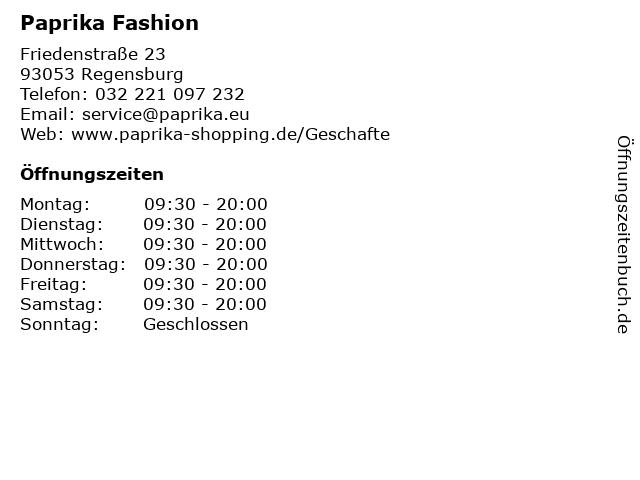 Paprika Fashion in Regensburg: Adresse und Öffnungszeiten