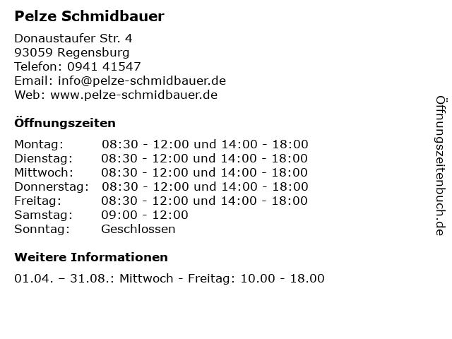 Pelze Schmidbauer in Regensburg: Adresse und Öffnungszeiten