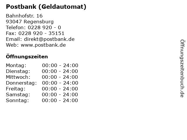 Postbank (Geldautomat) in Regensburg: Adresse und Öffnungszeiten