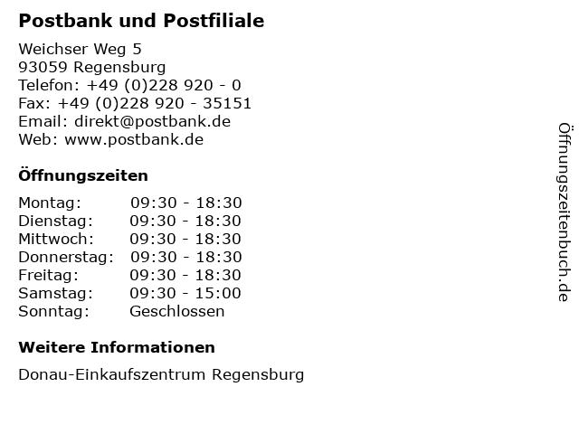 Deutsche Post AG Postbank Finanzcenter in Regensburg: Adresse und Öffnungszeiten