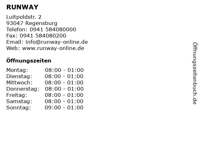 RUNWAY in Regensburg: Adresse und Öffnungszeiten
