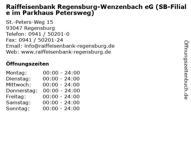 Raiffeisenbank Regensburg-Wenzenbach eG (SB-Filiale im Parkhaus Petersweg) in Regensburg: Adresse und Öffnungszeiten