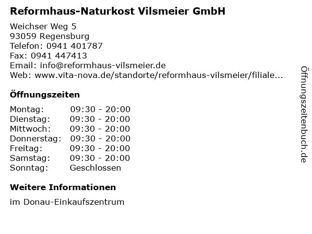 Reformhaus-Naturkost Vilsmeier GmbH in Regensburg: Adresse und Öffnungszeiten