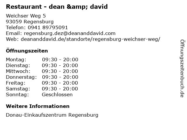 Restaurant - dean & david in Regensburg: Adresse und Öffnungszeiten