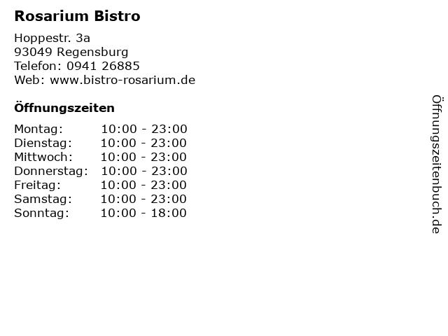 Rosarium Bistro in Regensburg: Adresse und Öffnungszeiten