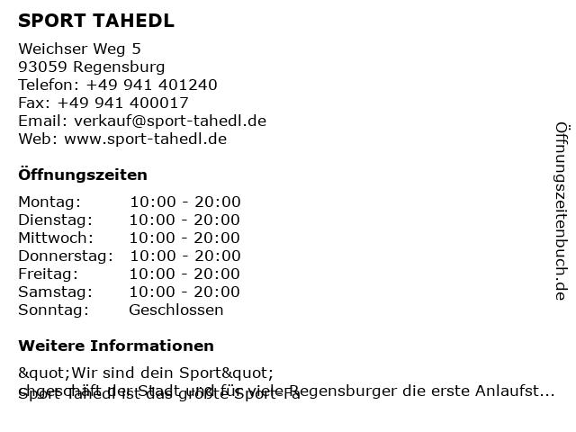 Intersport Tahedl in Regensburg: Adresse und Öffnungszeiten