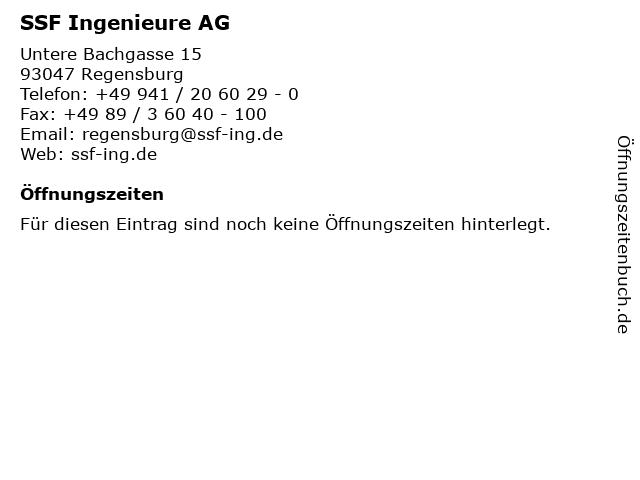 SSF Ingenieure AG in Regensburg: Adresse und Öffnungszeiten