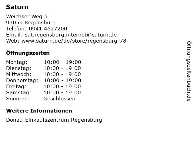 Saturn Electro-Handels GmbH in Regensburg: Adresse und Öffnungszeiten