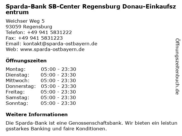 Sparda-Bank Filiale Regensburg Donau-Einkaufszentrum in Regensburg: Adresse und Öffnungszeiten