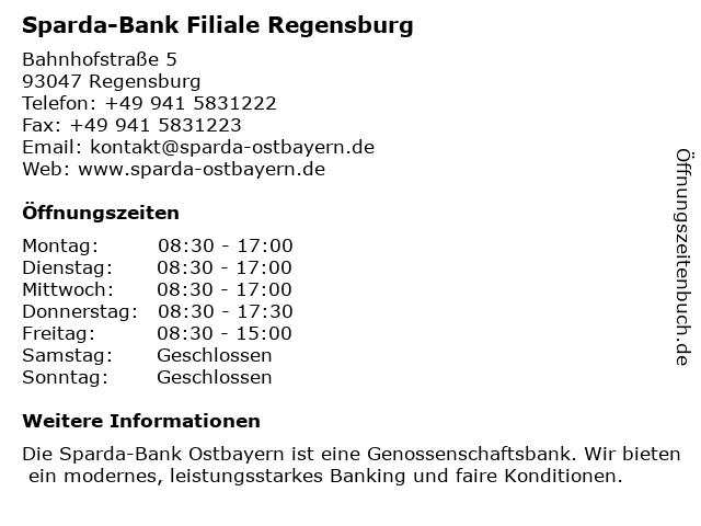 Sparda-Bank Ostbayern Zentrale in Regensburg: Adresse und Öffnungszeiten