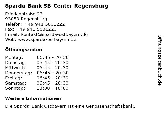 Sparda-Bank SB-Center Regensburg in Regensburg: Adresse und Öffnungszeiten