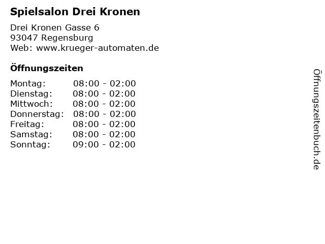 Spielsalon Drei Kronen in Regensburg: Adresse und Öffnungszeiten
