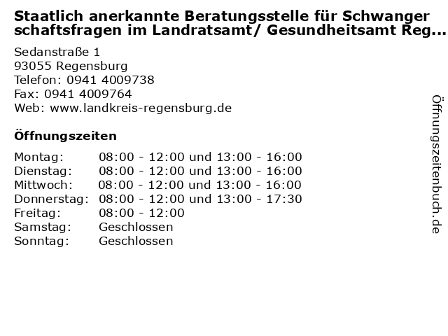 Staatlich anerkannte Beratungsstelle für Schwangerschaftsfragen im Landratsamt/ Gesundheitsamt Regensburg in Regensburg: Adresse und Öffnungszeiten