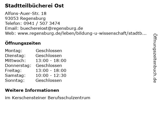 Stadtteilbücherei Ost in Regensburg: Adresse und Öffnungszeiten