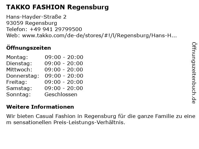 Takko Fashion in Regensburg: Adresse und Öffnungszeiten