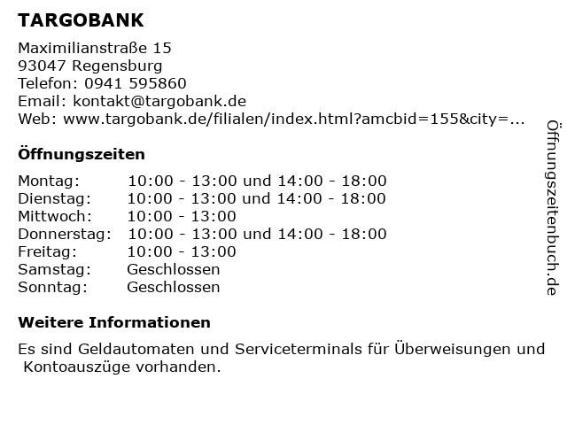 TARGOBANK in Regensburg: Adresse und Öffnungszeiten