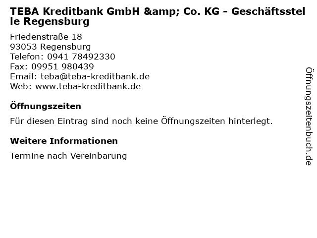 TEBA Kreditbank GmbH & Co. KG - Geschäftsstelle Regensburg in Regensburg: Adresse und Öffnungszeiten