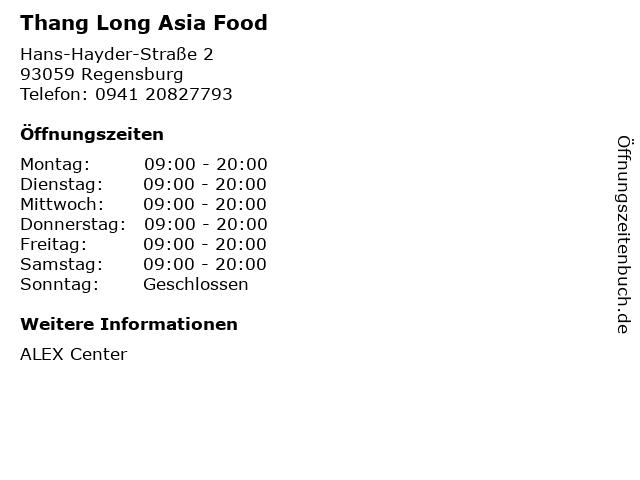 Thang Long Asia Food in Regensburg: Adresse und Öffnungszeiten