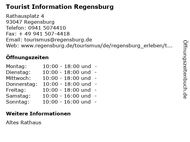 Tourist Information Regensburg in Regensburg: Adresse und Öffnungszeiten