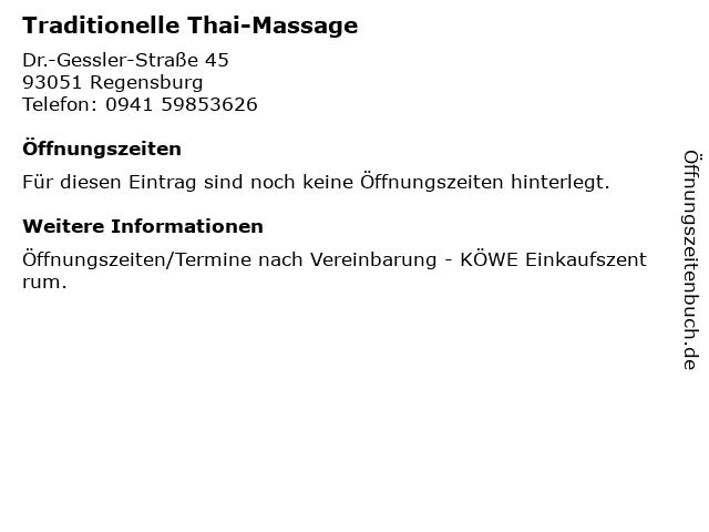Traditionelle Thai-Massage in Regensburg: Adresse und Öffnungszeiten