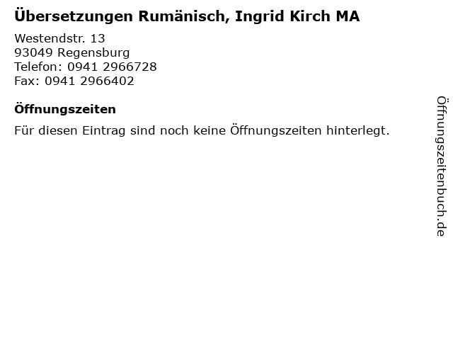 Übersetzungen Rumänisch, Ingrid Kirch MA in Regensburg: Adresse und Öffnungszeiten