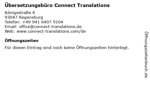 Übersetzungsbüro Connect Translations in Regensburg: Adresse und Öffnungszeiten