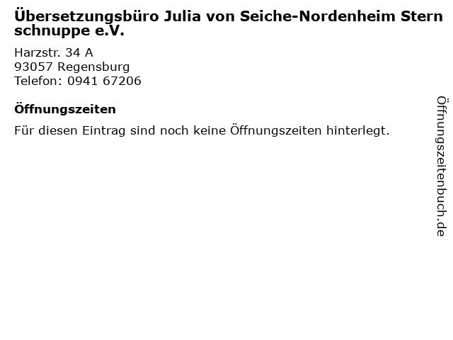 Übersetzungsbüro Julia von Seiche-Nordenheim Sternschnuppe e.V. in Regensburg: Adresse und Öffnungszeiten