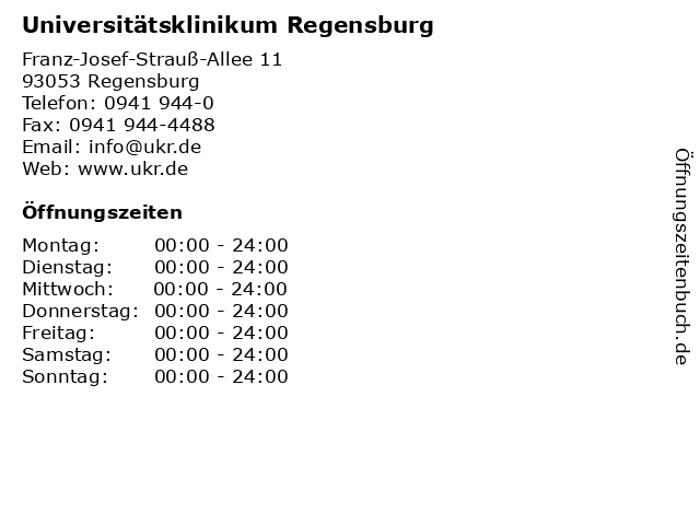 Universitätsklinikum Regensburg in Regensburg: Adresse und Öffnungszeiten
