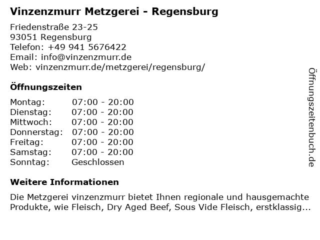 Vinzenzmurr Metzgerei in Regensburg: Adresse und Öffnungszeiten