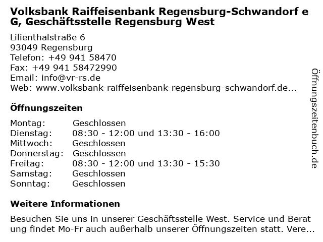 Volksbank Raiffeisenbank Regensburg-Schwandorf eG, Geschäftsstelle Regensburg West in Regensburg: Adresse und Öffnungszeiten