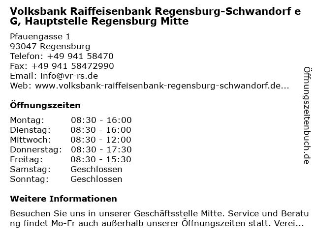 Volksbank Raiffeisenbank Regensburg-Schwandorf eG, Hauptstelle Regensburg Mitte in Regensburg: Adresse und Öffnungszeiten