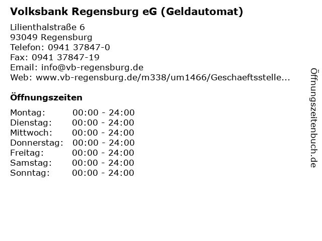 Volksbank Regensburg eG (Geldautomat) in Regensburg: Adresse und Öffnungszeiten