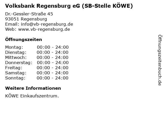 Volksbank Regensburg eG (SB-Stelle KÖWE) in Regensburg: Adresse und Öffnungszeiten