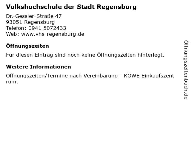 Volkshochschule der Stadt Regensburg in Regensburg: Adresse und Öffnungszeiten