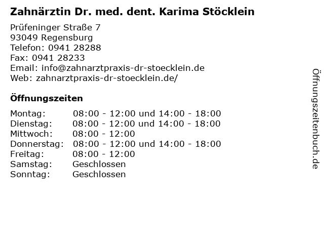 Zahnärztin Dr. med. dent. Karima Stöcklein in Regensburg: Adresse und Öffnungszeiten