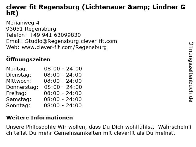 clever fit Regensburg (Lichtenauer & Lindner GbR) in Regensburg: Adresse und Öffnungszeiten
