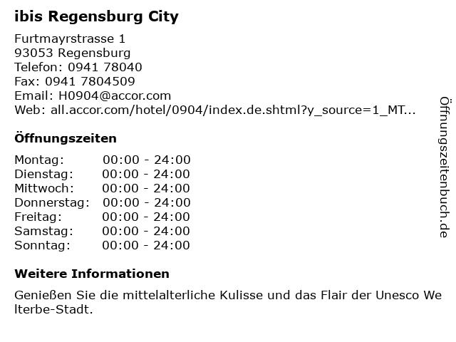 ibis Regensburg City in Regensburg: Adresse und Öffnungszeiten
