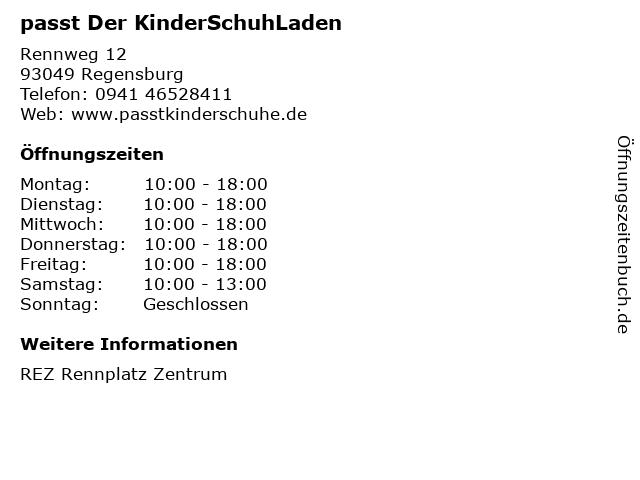 passt Der KinderSchuhLaden in Regensburg: Adresse und Öffnungszeiten