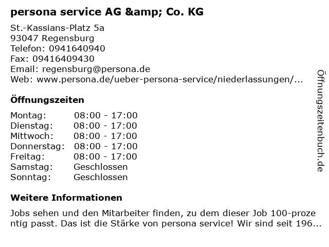 persona service AG & Co. KG in Regensburg: Adresse und Öffnungszeiten
