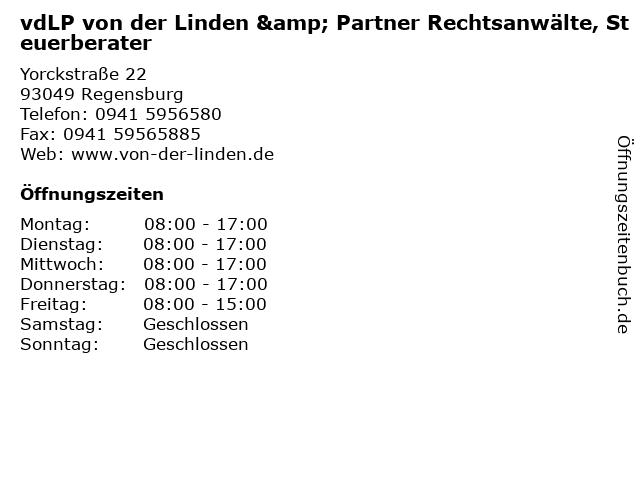 vdLP von der Linden & Partner Rechtsanwälte, Steuerberater in Regensburg: Adresse und Öffnungszeiten