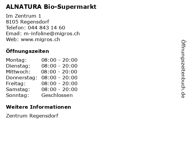 ALNATURA Bio-Supermarkt in Regensdorf: Adresse und Öffnungszeiten