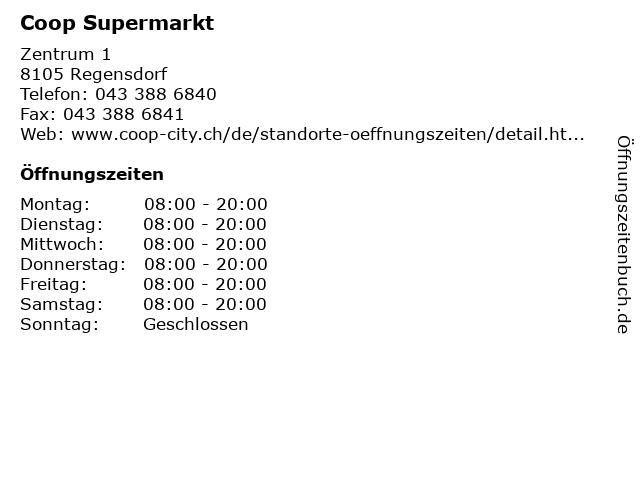Coop Supermarkt in Regensdorf: Adresse und Öffnungszeiten