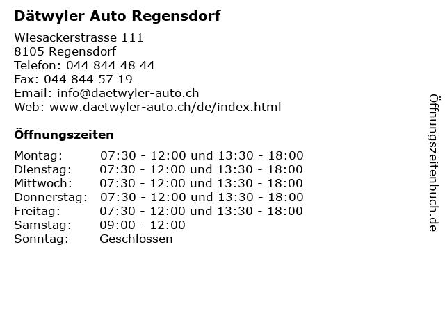 Dätwyler Auto Regensdorf in Regensdorf: Adresse und Öffnungszeiten