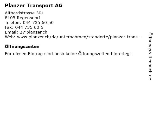 Planzer Transport AG in Regensdorf: Adresse und Öffnungszeiten