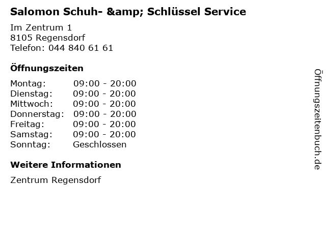 Salomon Schuh- & Schlüssel Service in Regensdorf: Adresse und Öffnungszeiten