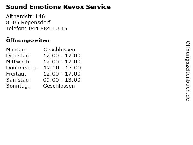 Sound Emotions Revox Service in Regensdorf: Adresse und Öffnungszeiten