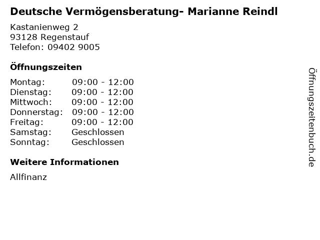 Deutsche Vermögensberatung- Marianne Reindl in Regenstauf: Adresse und Öffnungszeiten