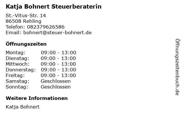 Katja Bohnert Steuerberaterin in Rehling: Adresse und Öffnungszeiten